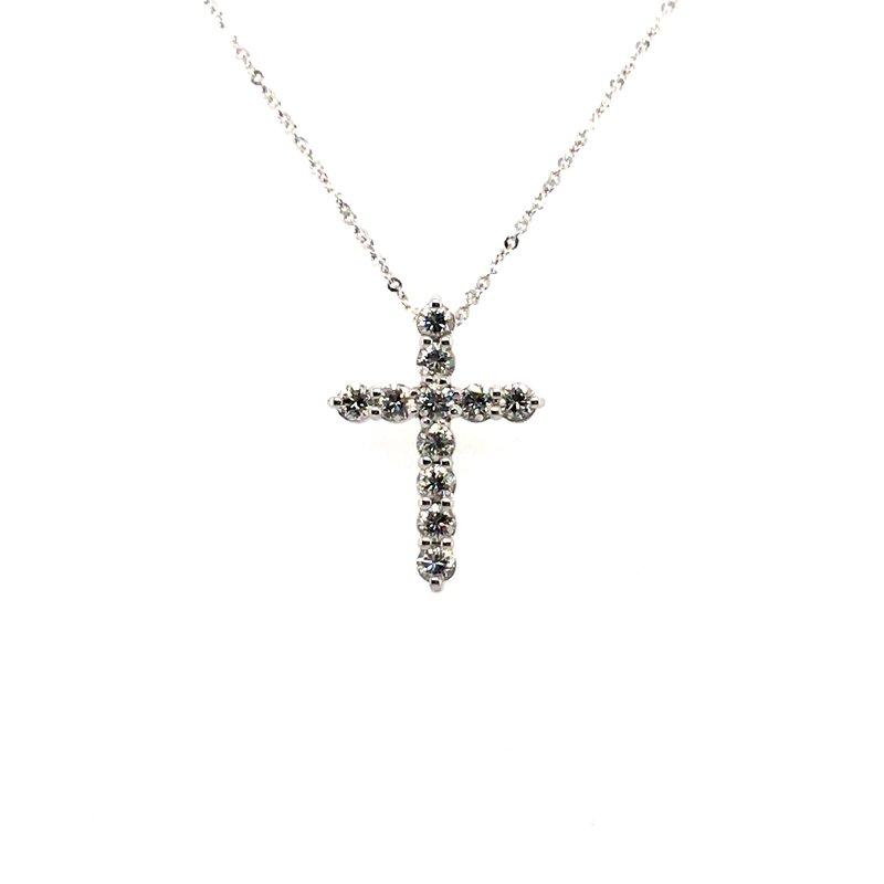 Gems One Sterling Silver Diamond Cross Pendant