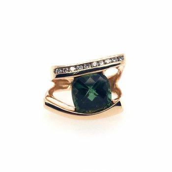 Green Cushion Cut Tourmaline and Diamond Ring