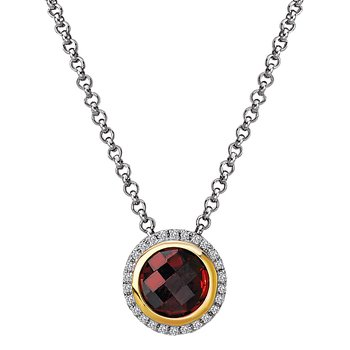 Eleganza Halo Necklace with Garnet and Diamonds