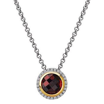 Eleganza Halo Necklace with Garnet and Diamonds