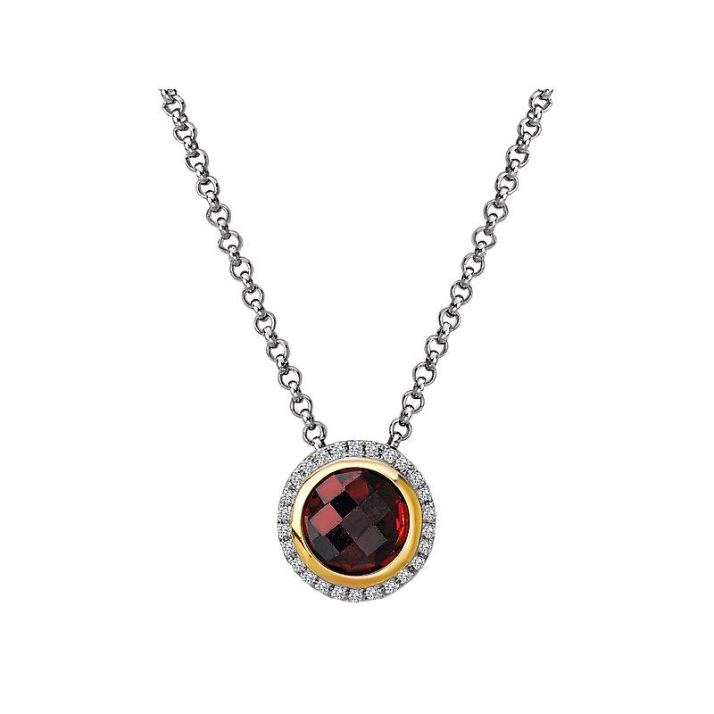 Kim International Eleganza Halo Necklace with Garnet and Diamonds