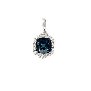 Round and Baguette Diamonds With Cushion Cut London Blue Topaz Pendant