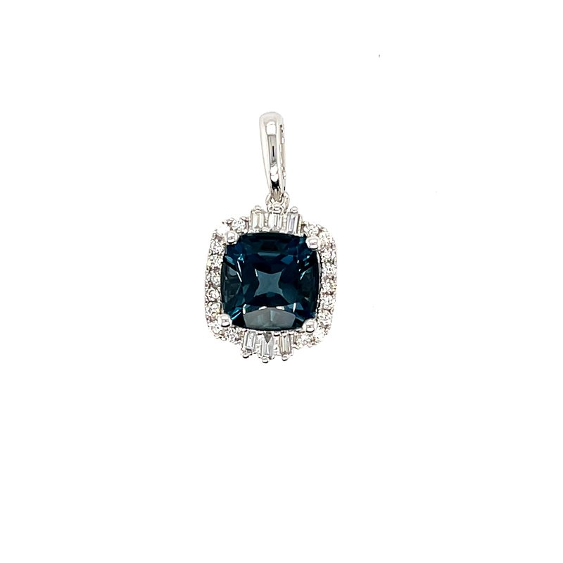 Variety Gem Round and Baguette Diamonds With Cushion Cut London Blue Topaz Pendant