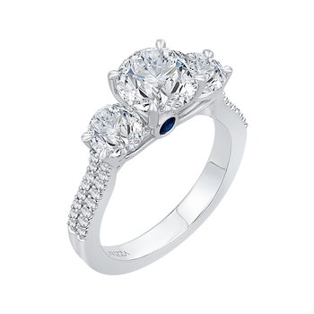 Carizza 14 Karat White Gold Round Cut Diamond Three-Stone Cathedral Style Engagement Ring (Semi-Mount)