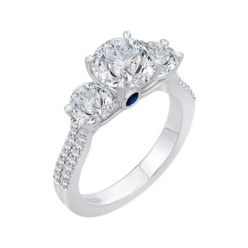 Shay Carizza 14 Karat White Gold Round Cut Diamond Three-Stone Cathedral Style Engagement Ring (Semi-Mount)