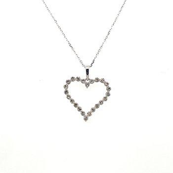 Diamond Single Prong Heart Pendant