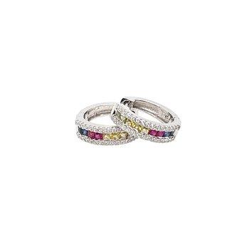 Diamonds & Princess Cut Multi Color Sapphire Earrings