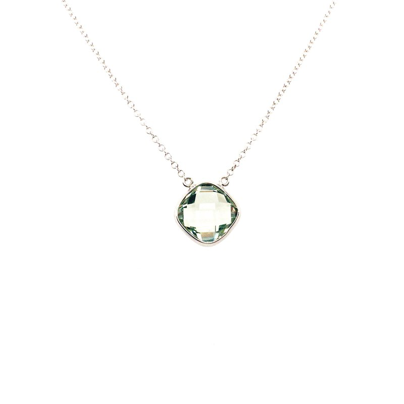 Kim International Checkerboard Green Amethyst Necklace