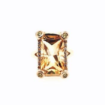 Emerald Cut Citrine and Diamond Ring