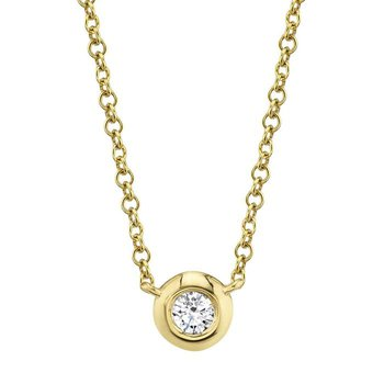 14 Karat Yellow Gold 0.05 Carat Diamond Bezel Necklace