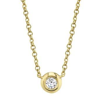 14 Karat Yellow Gold 0.05 Carat Diamond Bezel Necklace