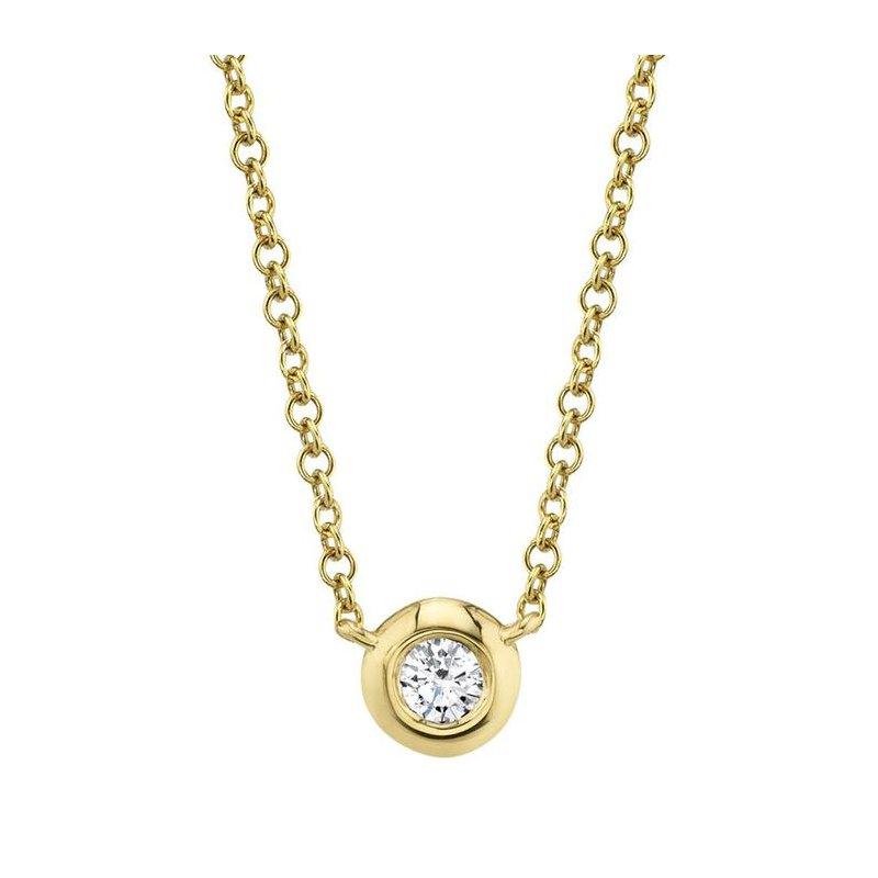 Shy Creation 14 Karat Yellow Gold 0.05 Carat Diamond Bezel Necklace