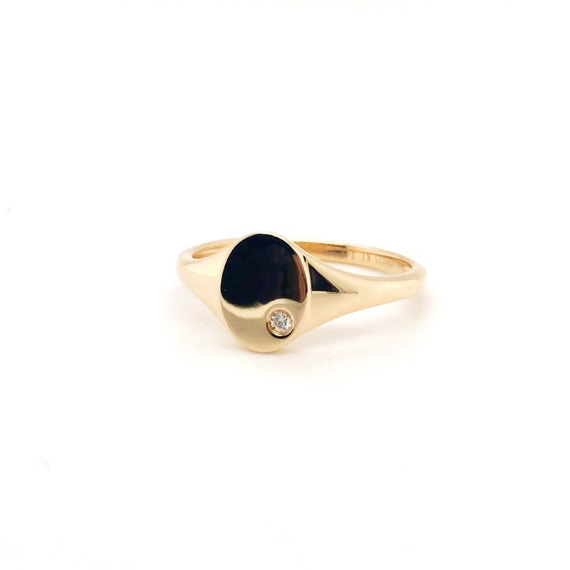 Kim International Mini Oval Signet Diamond Ring