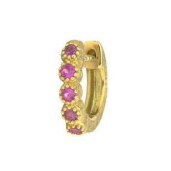 Pink Sapphire Bezel Hoop Earring