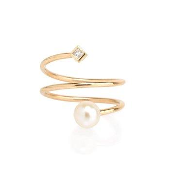 Wrap Around Pearl & Diamond Ring