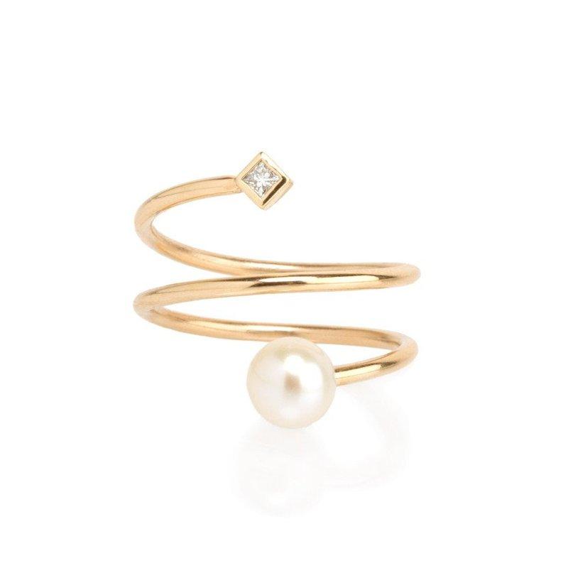 Zoë Chicco Wrap Around Pearl & Diamond Ring