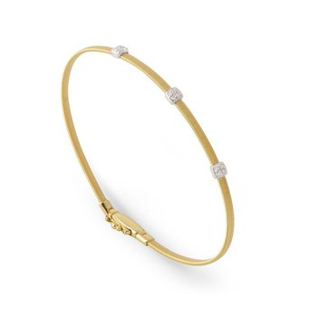Masai One Strand Bracelet with Three Pave Diamond Stations