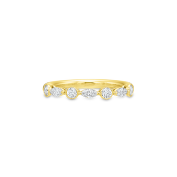 18K Yellow Gold Marquise & Round Diamond Band