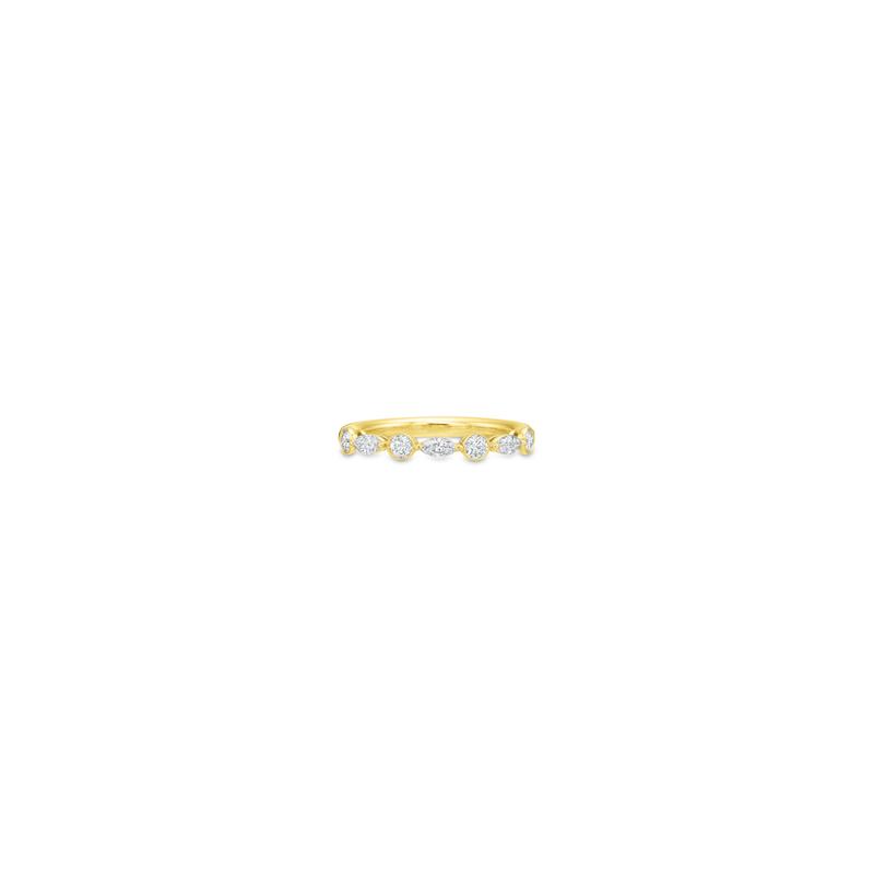 Precision Set 18K Yellow Gold Marquise & Round Diamond Band
