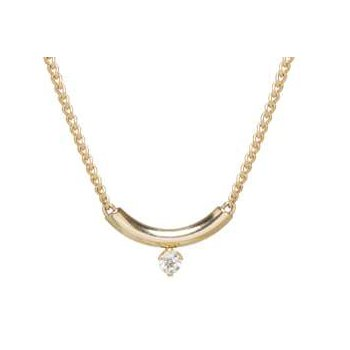 Curve Necklace with Prong Set Diamond