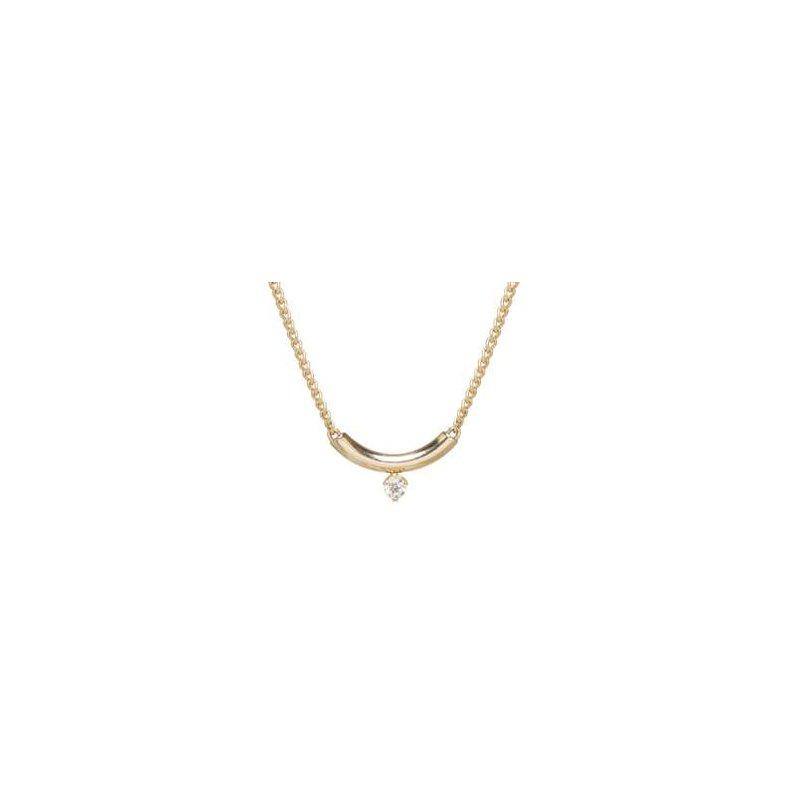 Zoë Chicco Curve Necklace with Prong Set Diamond