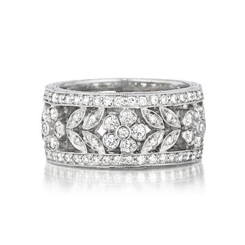Wide Diamond Flower Band