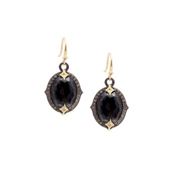 Pointed Oval Hematite White Quartz Earrings