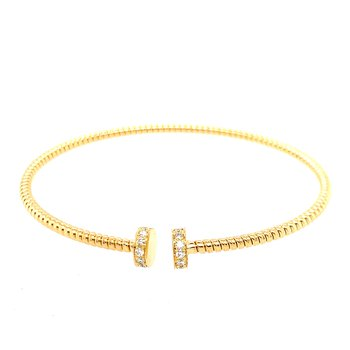 Thin Open Round Diamond Cuff Bracelet