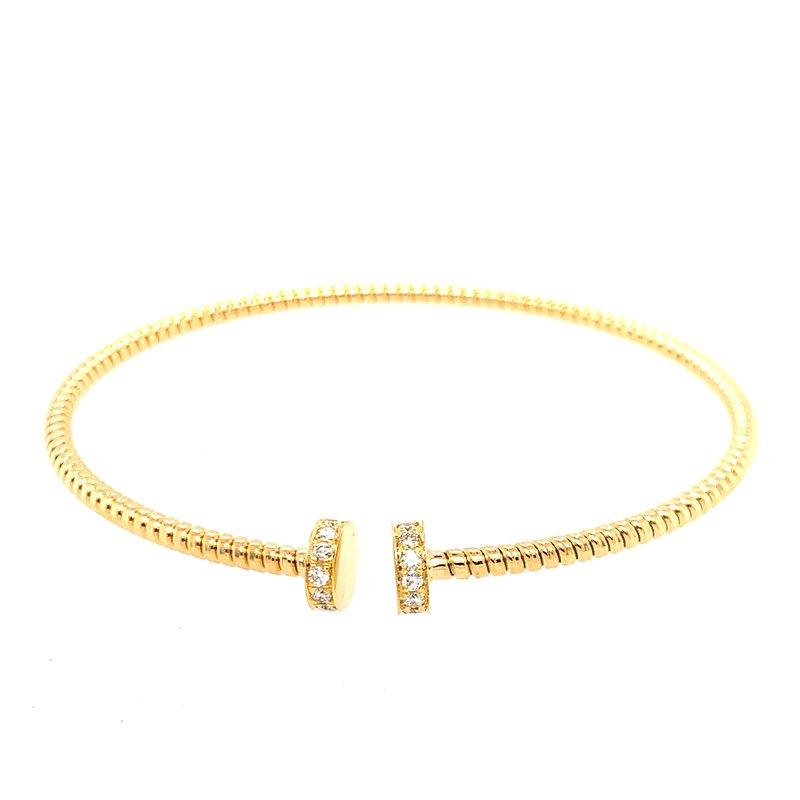 Antonio Papini Thin Open Round Diamond Cuff Bracelet