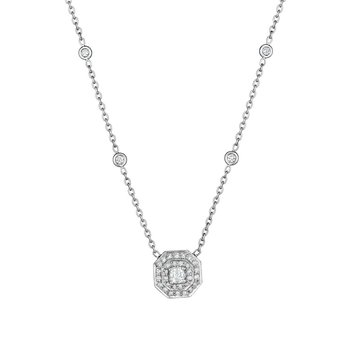 Small Double Row Pave Octagon with Asscher Center Stone Necklace