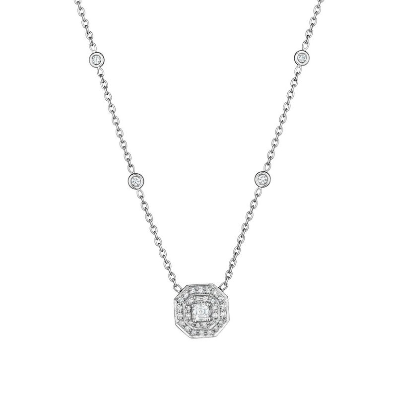 Penny Preville Small Double Row Pave Octagon with Asscher Center Stone Necklace