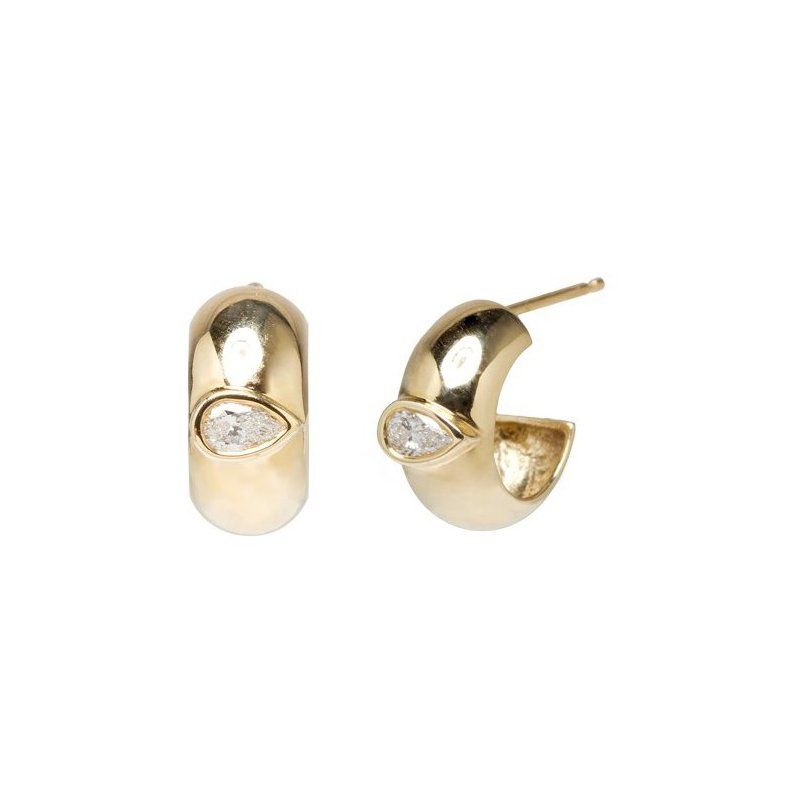Zoë Chicco Half Round Huggie Hoops with Pear Bezel Diamonds