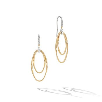 Marrakech Onde Double Concentric Hook Earrings with Diamonds