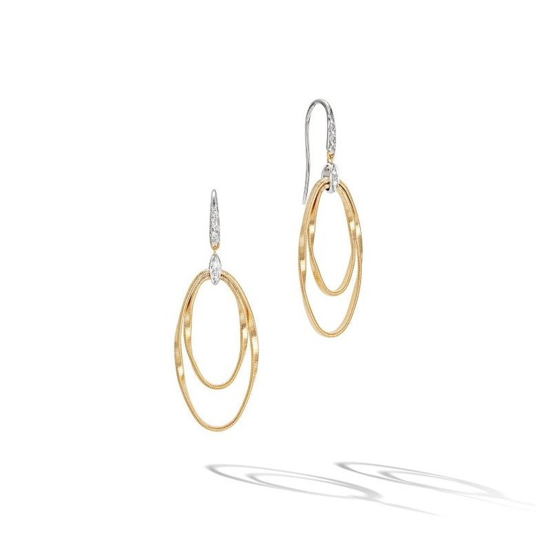 Marco Bicego Marrakech Onde Double Concentric Hook Earrings with Diamonds