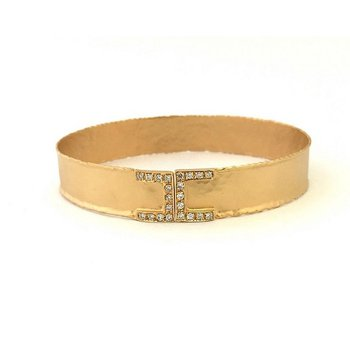 Thin Hammered Open Diamond End Cuff
