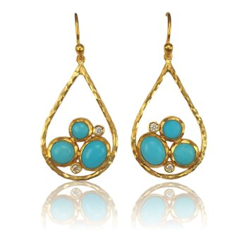 Turquoise & Diamond Teardrop Earrings