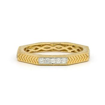 Octagonal Engraved Pave Diamond Band