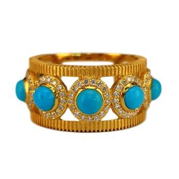 Seven Stone Turquoise & Diamond Ring