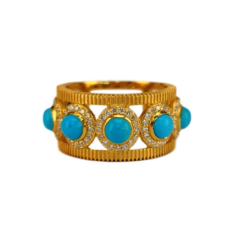 Marika Seven Stone Turquoise & Diamond Ring