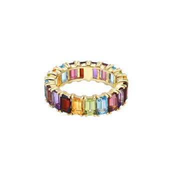 Emerald Cut Rainbow Eternity Band