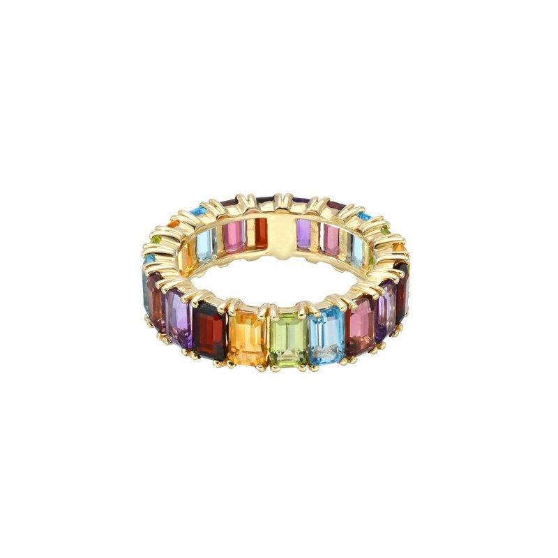 Zoe Lev Emerald Cut Rainbow Eternity Band