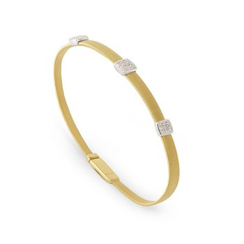 Medium Masai Bracelet with Three Pave Diamond Stations
