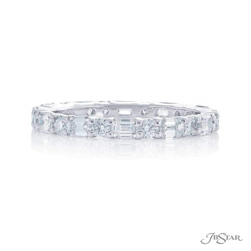 JB Star Emerald & Round East West Eternity Band