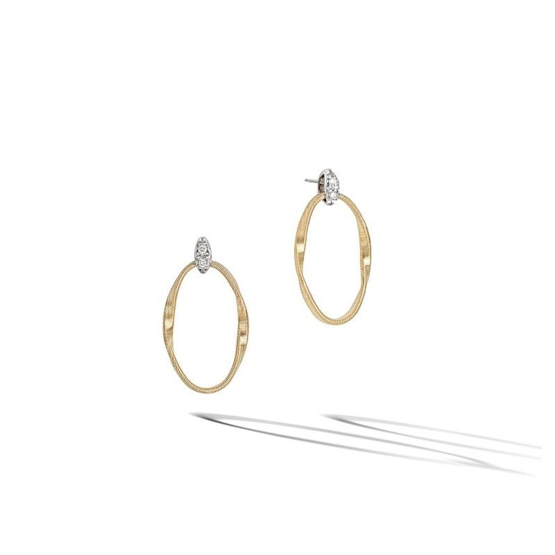Marco Bicego Hand Twisted Marrakech Onde Earrings with Brilliant Cut Diamonds