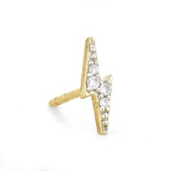 Petite Diamond Lightning Bolt Stud
