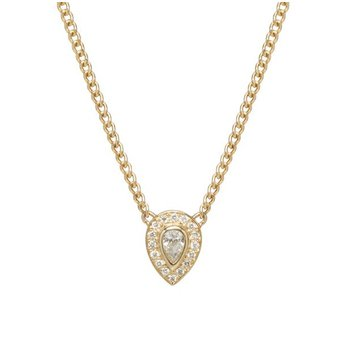 Halo Pear & Pave Diamond Necklace