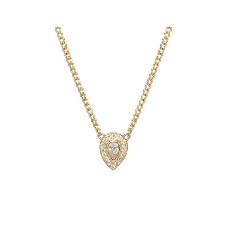 Zoë Chicco Halo Pear & Pave Diamond Necklace