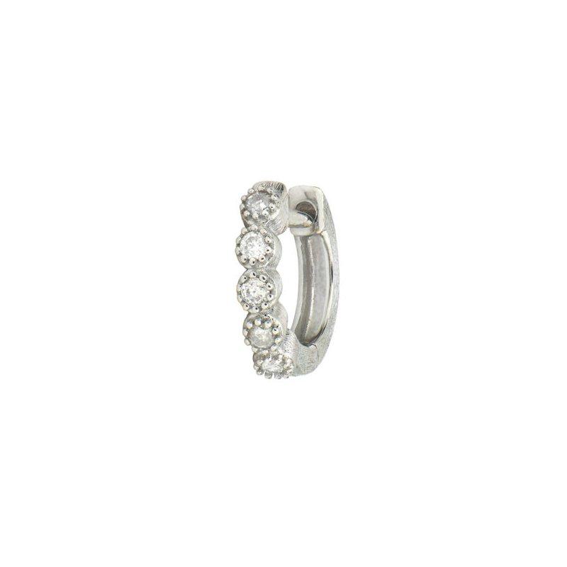 JudeFrances Petite Diamond Bezel Hoop Earring