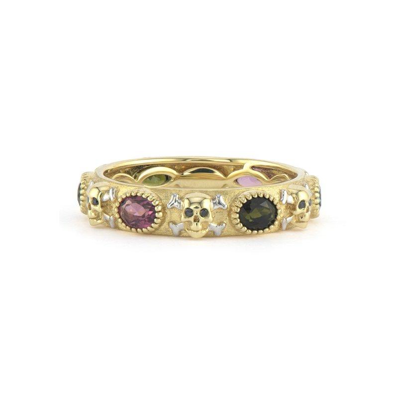 JudeFrances Skull Ring with Black Diamonds & Gemstones