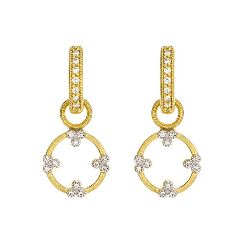 JudeFrances Provence Champagne Open Circle Trio Diamond Earring Charms